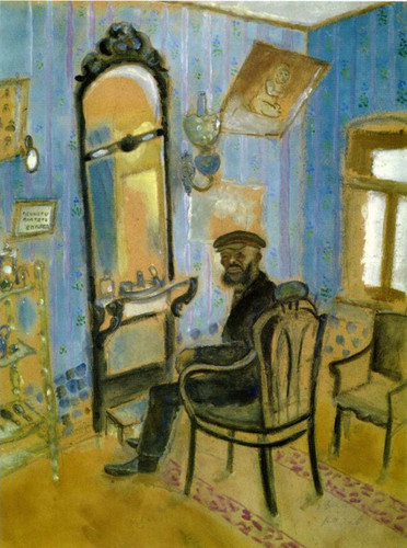 Barber S Shop Uncle Zusman 1914 By Marc Chagall Art Reproduction from Wanford