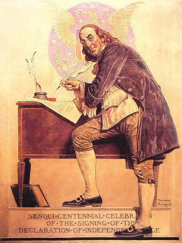Ben Franklin0S Sesquicentennial By Norman Rockwell Art Reproduction from Wanford