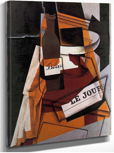 Bottle Newspaper And Fruit Bowl 1915 By Juan Gris