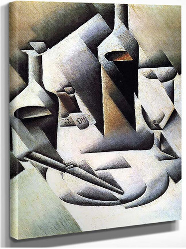 Bottles And Knife 1912 By Juan Gris