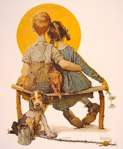Boy And Girl Gazing At The Moon 1926 By Norman Rockwell Art Reproduction from Wanford