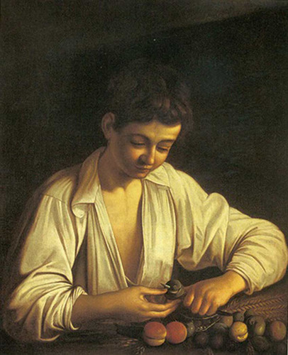 Boy Peeling A Fruit By Caravaggio Art Reproduction from Wanford
