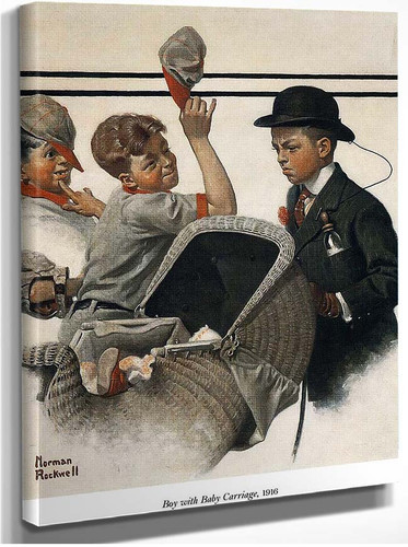 Boy With Baby Carriage 1916 By Norman Rockwell