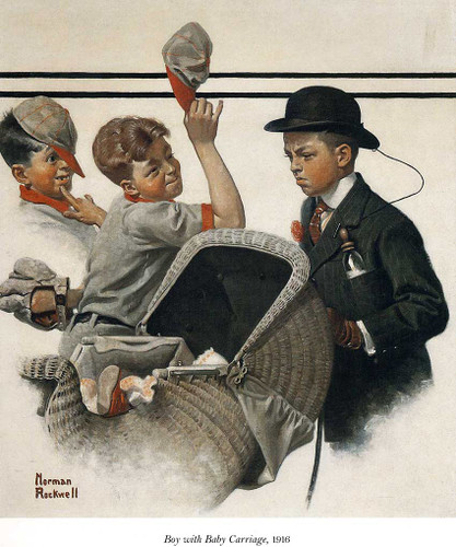 Boy With Baby Carriage 1916 By Norman Rockwell Art Reproduction from Wanford