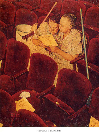 Charwomen In Theater 1946 By Norman Rockwell Art Reproduction from Wanford
