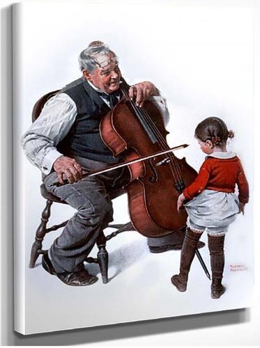 Chello Oldman Littlegirl By Norman Rockwell