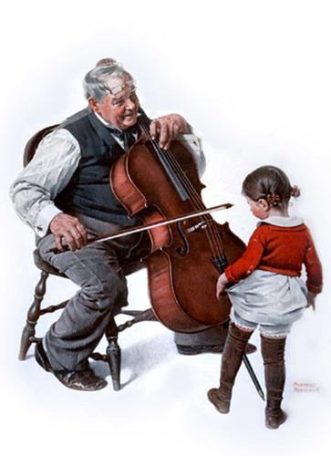 Chello Oldman Littlegirl By Norman Rockwell Art Reproduction from Wanford