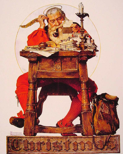 Christmas Santa Reading Mail 1935 By Norman Rockwell Art Reproduction from Wanford