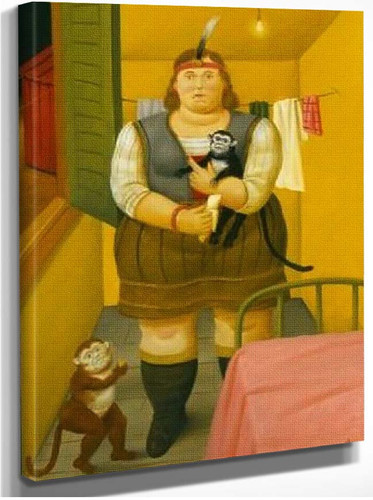 Circus Woman In Her Trailer By Fernando Botero