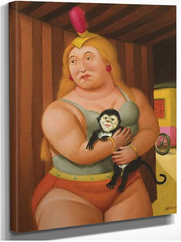 Circus Woman With A Monkey2 By Fernando Botero