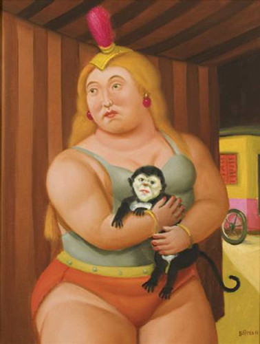 Circus Woman With A Monkey2 By Fernando Botero Art Reproduction from Wanford