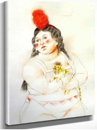 Circus Woman With A Monkey By Fernando Botero
