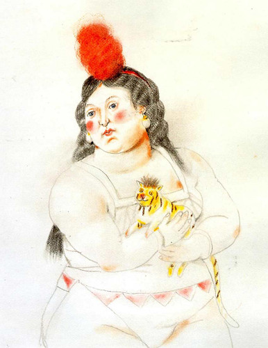 Circus Woman With A Monkey By Fernando Botero Art Reproduction from Wanford