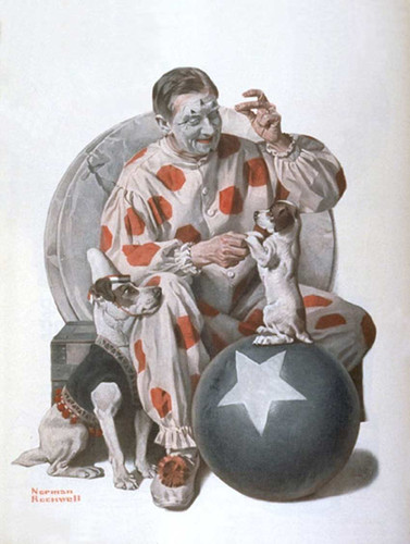 Clown Training Dogs By Norman Rockwell Art Reproduction from Wanford