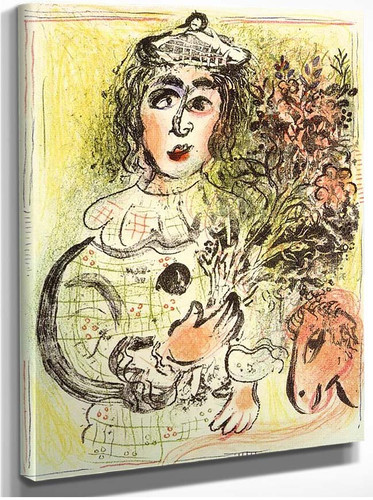 Clown With Flowers 1963 By Marc Chagall