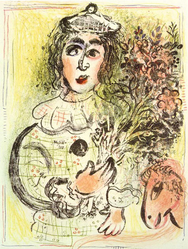 Clown With Flowers 1963 By Marc Chagall Art Reproduction from Wanford
