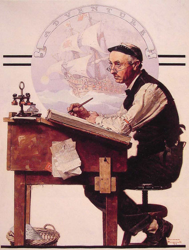 Daydreaming Bookeeper Adventure 1924 By Norman Rockwell Art Reproduction from Wanford