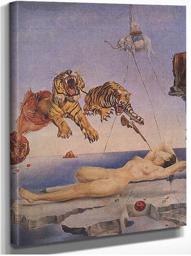 Dream Caused By The Flight Of A Bee Around A Pomegranate One Second Before Awakening By Salvador Dali