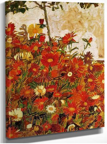 Field Of Flowers 1910 By Egon Schiele