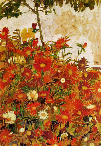 Field Of Flowers 1910 By Egon Schiele Art Reproduction from Wanford