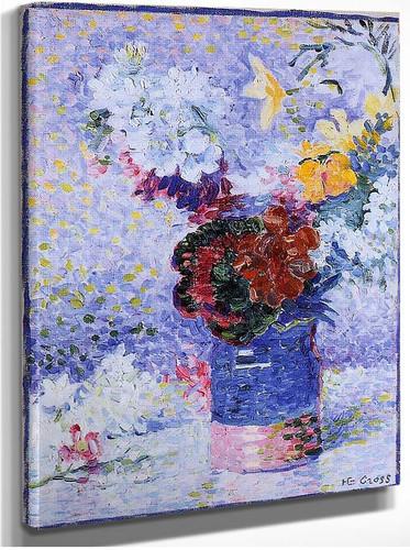 Flowers In A Glass By Henri Edmond Cross