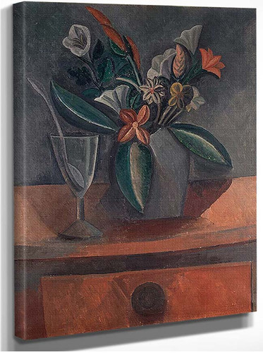 Flowers In A Grey Jar 1908 By Pablo Picasso