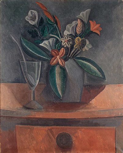 Flowers In A Grey Jar 1908 By Pablo Picasso Art Reproduction from Wanford