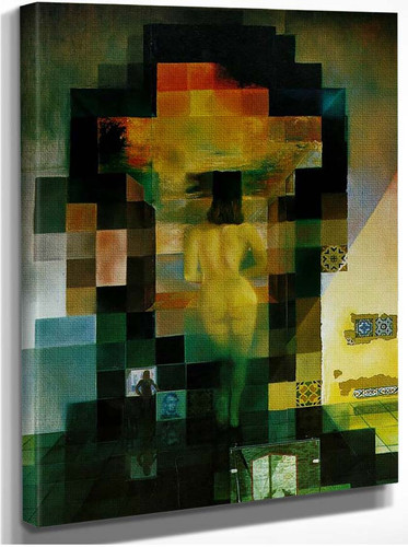 Gala Contemplating The Mediterranean Sea Which At Twenty Meters Becomes The Portrait Of Abraham By Salvador Dali