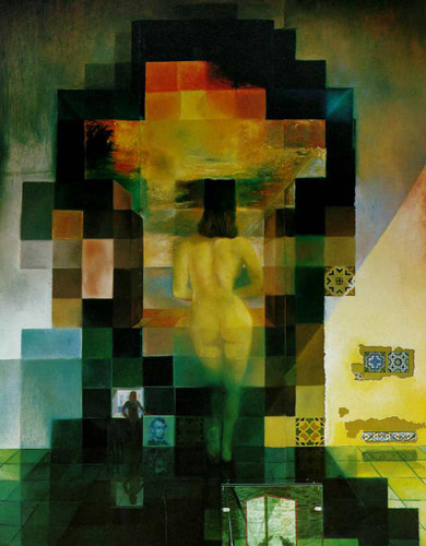 Gala Contemplating The Mediterranean Sea Which At Twenty Meters Becomes The Portrait Of Abraham By Salvador Dali Art Reproduction from Wanford