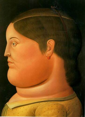 Girl In Profile By Fernando Botero Art Reproduction from Wanford