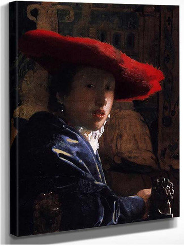 Girl With A Red Hat By Vermeer Johannes