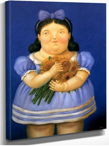 Girl With Flowers By Fernando Botero