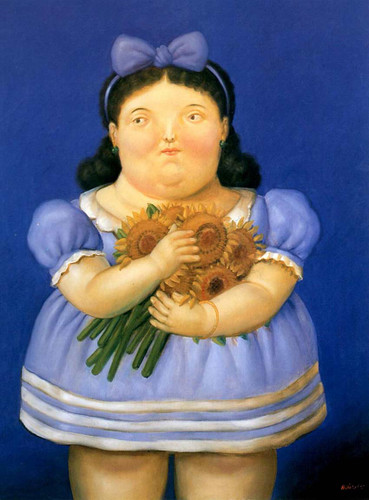 Girl With Flowers By Fernando Botero Art Reproduction from Wanford