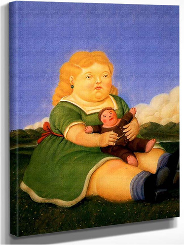 Girl With Puppet By Fernando Botero