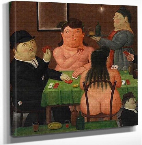Card Players By Fernando Botero Art Reproduction from Wanford.