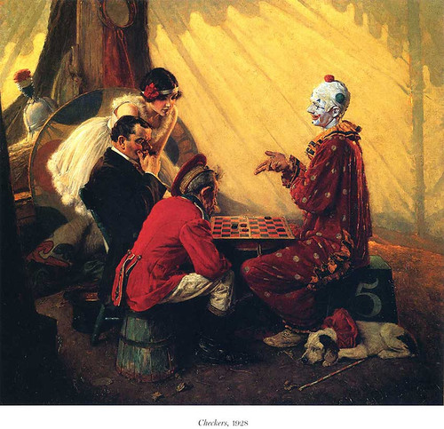Checkers By Norman Rockwell Art Reproduction from Wanford.