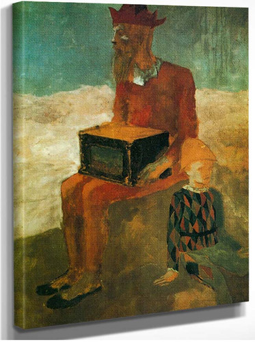 Hurdy Gurdy Player And Young Harlequin1 By Pablo Picasso