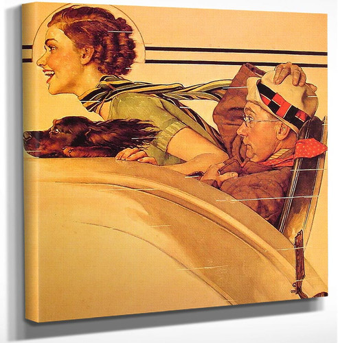 Couple In Rumble Seat 1935 By Norman Rockwell Art Reproduction from Wanford.