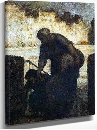 Laundress On The Quai Danjou By Daumier Honore