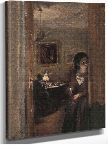 Living Room With The Artists Sister By Menzel Adolph Von
