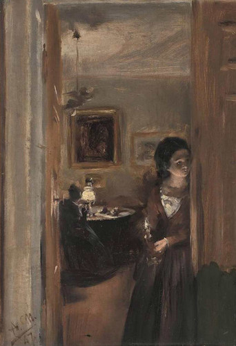 Living Room With The Artists Sister By Menzel Adolph Von Art Reproduction from Wanford