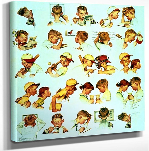 Faces Of Boy By Norman Rockwell Art Reproduction from Wanford.