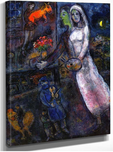 Newlyweds And Violinist 1956 By Marc Chagall