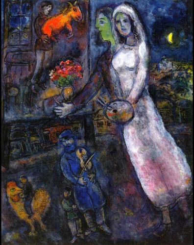Newlyweds And Violinist 1956 By Marc Chagall Art Reproduction from Wanford
