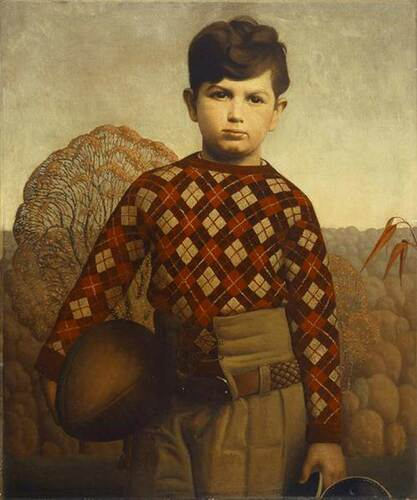 Plaid Sweater 1931 By Grant Wood Art Reproduction from Wanford