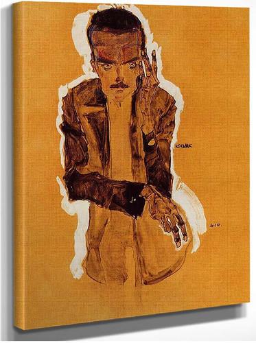 Portrait Of Eduard Kosmack With Raised Left Hand 1910 By Egon Schiele