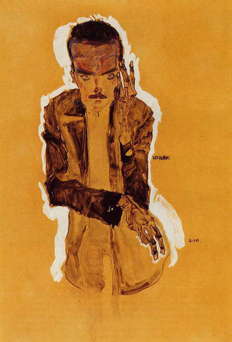 Portrait Of Eduard Kosmack With Raised Left Hand 1910 By Egon Schiele Art Reproduction from Wanford