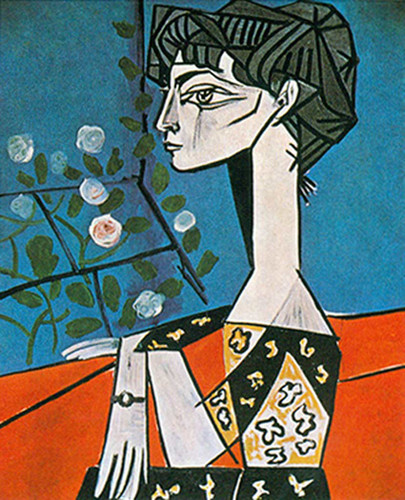 Portrait Of Jacqueline Roque With Flowers By Pablo Picasso Art Reproduction from Wanford