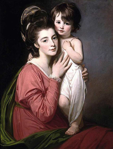 Portrait Of Mrs Henrietta Morris And Her Son John By Romney George Art Reproduction from Wanford