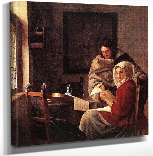 Girl Interrupted At Her Music By Vermeer Johannes Art Reproduction from Wanford.